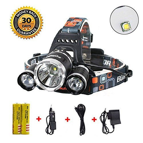 (Newest Version OF Brightest and Best LED Headlamp 8000 Lumen flashlight IMPROVED LED, Rechargeable 18650 headlight flashlights Waterproof Hard Hat Light, Bright Head Lights, Camping, Running headlamp)