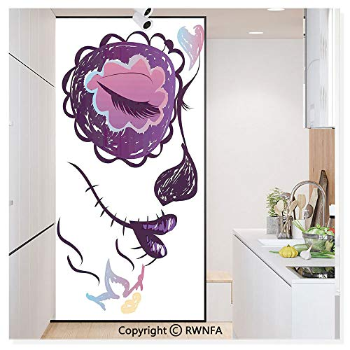 Decorative Window Film,Sugar Skull Girl Face with Make