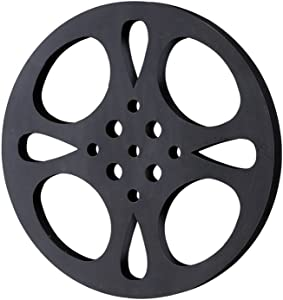 Deco 79 Metal Movie Reel, Black/Gray