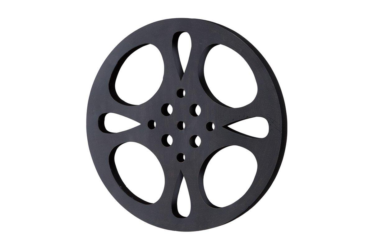 Deco 79 Metal Movie Reel, Black/Gray