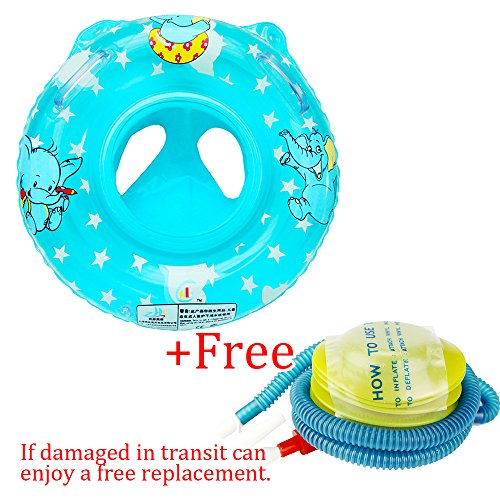 Sealive Child&Baby Inflatable Safety Seat Float Ring Raft Chair Pool Swimming Toy With Handle,Useful&Funny In The Bathtub At Home Blue/Pink,Free Inflator Pump (1pc,Blue)