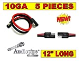 5 PIECES 10 GA 12'' QUICK DISCONNECT POLARIZED INLINE POWER CABLE WIRE HARNESS