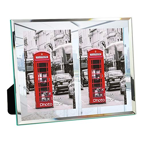 Double Table Top - Schliersee 5x7 Glass Picture Frames Double for Tabletop Photo Frames 5x7 for Wedding Gifts 2 PCS