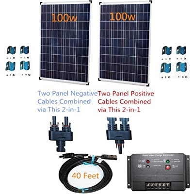 Plug-n-Power 2-in-1 Space Flex 200w Two 100w Solar Panels Charging Kit for 12v Off Grid Battery - next day free shipping from U.S.
