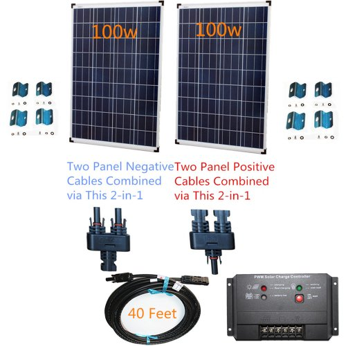 PowerFree Plug-n-Power 2-in-1 Space Flex 200w Two 100w Solar Panels Charging Kit for 12v Off Grid Battery - next day from U.S.