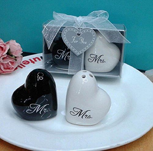 Hugs and Kisses XO/Mr & Mrs Ceramic Salt And Pepper Shaker Wedding/Birthday Party Favors 10 sets (Mr & (Xo Hugs Kisses)