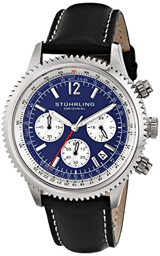 Stuhrling-Original-Man-Monaco-Dress-66902-Reloj-de-pulsera-Cuarzo-Hombre-correa-deCuero-Negro