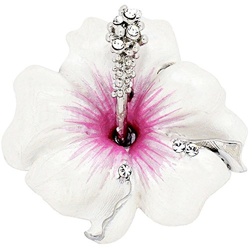 Fantasyard Small White Hawaiian Hibiscus Swarovski Crystal Flower Pin Brooch and Pendant