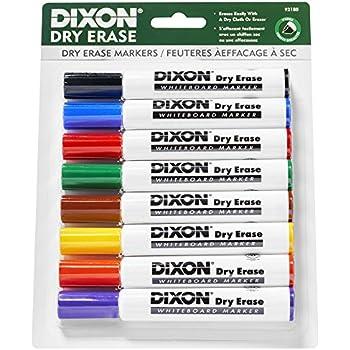 Amazon.com : Dixon Dry Erase Markers, Wedge Tip, 8 Colors