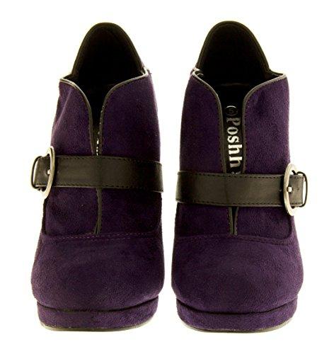 Purple Poshh Faux Womens Boots Suede pxZ7YxR