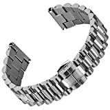 Geckota Stainless Steel Watch Band Super President, Butterfly Buckle, Brushed/Polished, 22mm