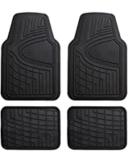FH Group Heavy Duty Tall Channel F11311BLACK Rubber Floor Mat Black Full Set Trim to Fit