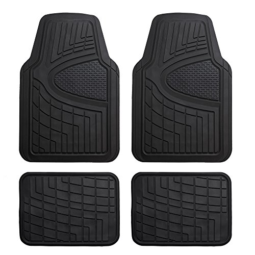 FH Group F11311BLACK Rubber Floor Mat(Heavy Duty Tall Channel, Black Full Set Trim to Fit) by FH Group