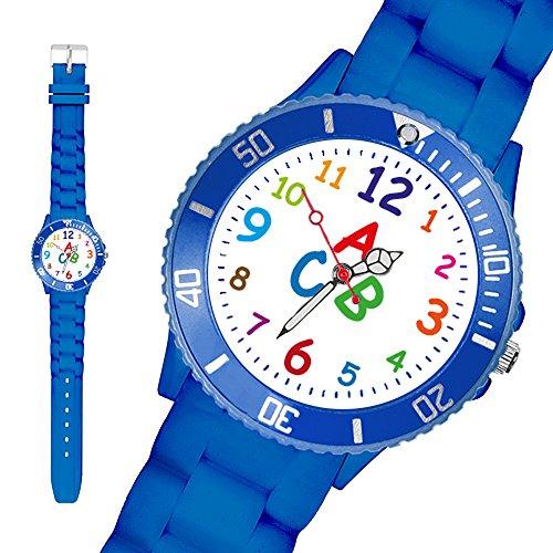 Taffstyle® Sportarmbanduhren - Bunte Sportuhr Kinderuhr Silikon Kinder Sport Armbanduhr Silikonuhr Schüler Schulanfang Lernuhr Zahlen Uhr mit Silikonarmband und ABC Motiv / Blau
