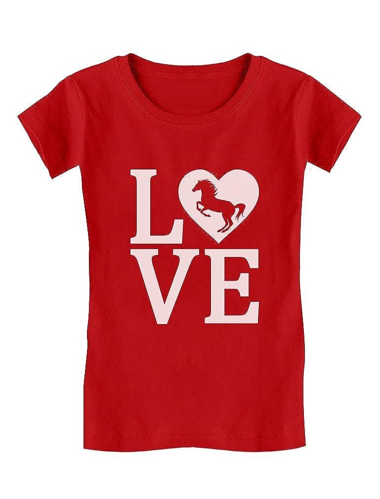 Tstars - Love Horses Gift For Horse Lover Girls' Fitted Kids T-Shirt GM0PMt3gwm