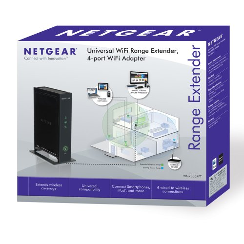 NETGEAR WN2000RPT-100NAS Universal Wi-Fi Range Extender with 4-port Ethernet Switch Black