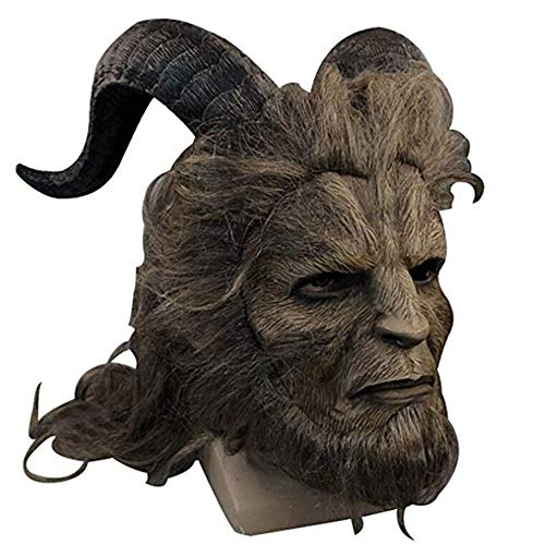 Sinastar Halloween Beast Prince Cosplay Mask Wig Headgear Long Hair/Short Hair (Long Hair) -