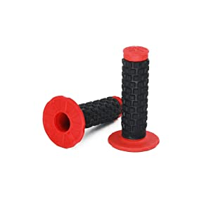 "2pcs 7/8"" Universal Motorcycle Hand Bar Grips Pillow Grip Anti-slip Rubber Racing Grip For Dirt Bike Motocross Honda CR80R/85R, CRF150R, CR125R/250R, CRF450R(Red)"
