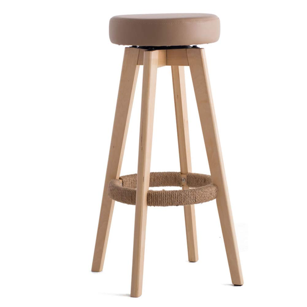 Brown Solid Wood Barstools, 360 Degree Swivel Handmade Pub Chair Filled Cotton Counter Bar Stool Chair for Bar Home-Beige
