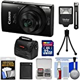 Canon PowerShot Elph 190 is Wi-Fi Digital Camera (Black) 32GB Card + Battery + Case + Flash + Tripod + Kit