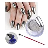 NICOLE DIARY 1Pc Silver Chrome Nail Art Mirror Powder Pigment With Powder Picker Pen Manicure DIY