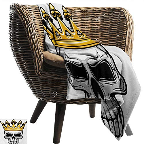 Anshesix Fashion Throwing Blanket King Hand Drawn Crowned