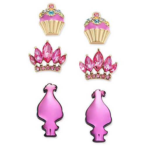 Betsey Johnson xox Trolls Stud Earrings Set with Cupcakes, Crowns & Pink Trolls (Set of 3) (Betsey Johnson Crown Ring)