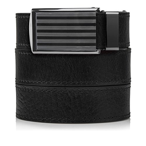 SlideBelts Men's Premium Top Grain Leather Ratchet Belt - Black with Bar-Striped ()