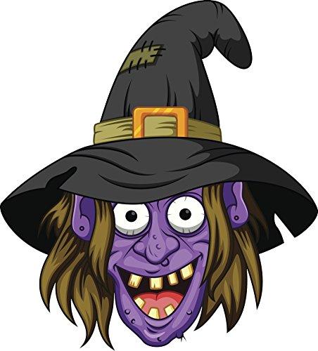 Creepy Purple Halloween Witch Cartoon Vinyl Decal Sticker (4