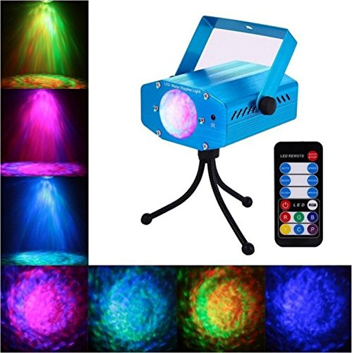 AKDSteel Strobe Light 7 Color Water Ripples Projector Ocean Wave Lamp Auto Flash Sound Activated LED Disco Dj