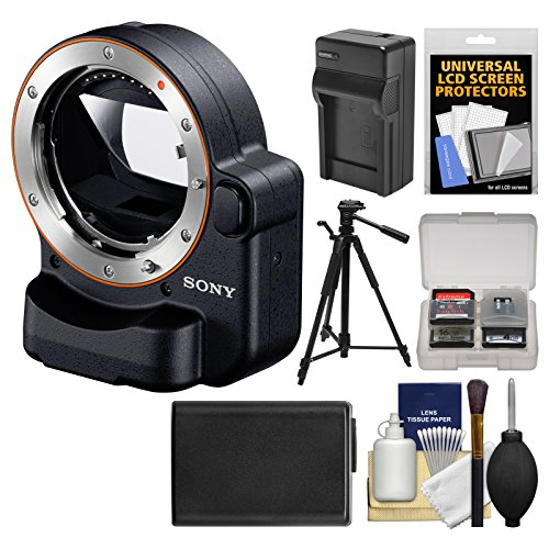 Sony Alpha LA-EA4 Adapter (Attach A-Mount Lenses to E-Mount Full Frame Camera) with TMT with NP-FW50 Battery & Charger + Tripod + Kit (Sony A Mount To E Mount Adapter)