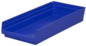 Akro-Mils 30174 24-Inch by 11-Inch by 4-Inch Plastic Nesting Shelf Bin Box, Blue, Case of 6