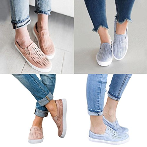 Janly® Summer Shoes, Woman Hollow Out Casual Shoes Girls Round Toe Platform Flat Heel Lazy Shoes Size 2-6 Blue