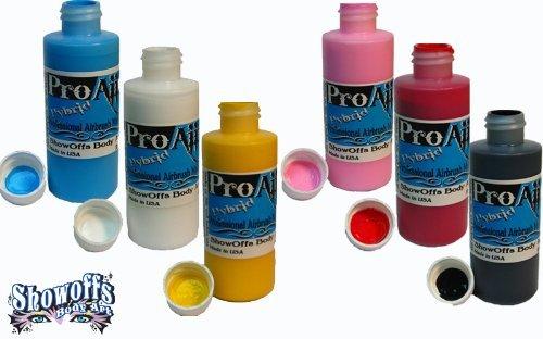 Face Painting Makeup – ProAiir Waterproof Makeup - Starter Pack - 6 2.1 oz (60ml) Bottles by Proaiir