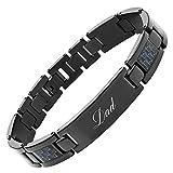 DAD Titanium Bracelet Engraved Love You Dad Carbon Fiber Adjusting Tool & Gift Box Included