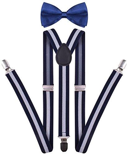 Pre-Tied Navy Blue Bow Tie Tux Suspender Mens Stripe Suspender Bowtie Set Navy White Stripe One (Blue Cream Mens Satin)