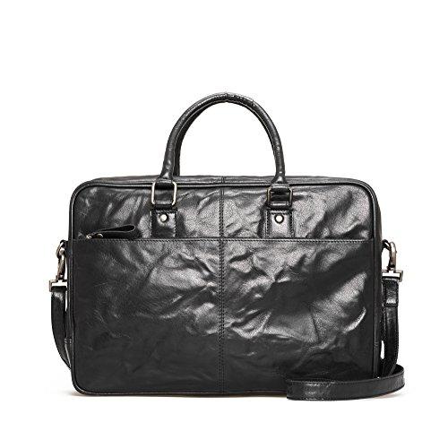 Montana Leather Laptop Bag - Borsa business con scomparto imbottito Notebook e molte caratteristiche realizzate in 100% pelle Nero