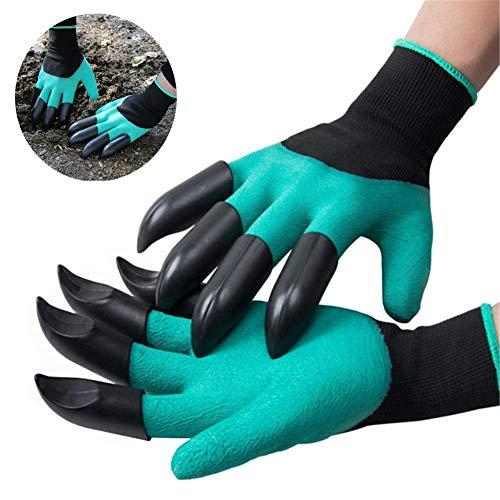 WenSha Garden Genie Gloves with Claws on Each Hand Waterproof Digging Gloves for Gardening 1 Pair -