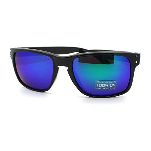 8c7e36d8e9 Casual Fashion Sunglasses Mens Square Rectangular Black Blue Multicolor Lens