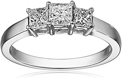 14k Gold Princess-Cut 3-Stone Diamond Ring (3/4 cttw, I-J Color, I1-I2 Clarity)
