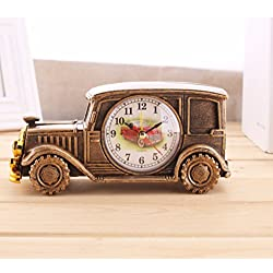 Ayzr Plastic Alarm Clock Wind Simulation Old Car Model Alarm Clock Fashion Pointer Creative Clock,B