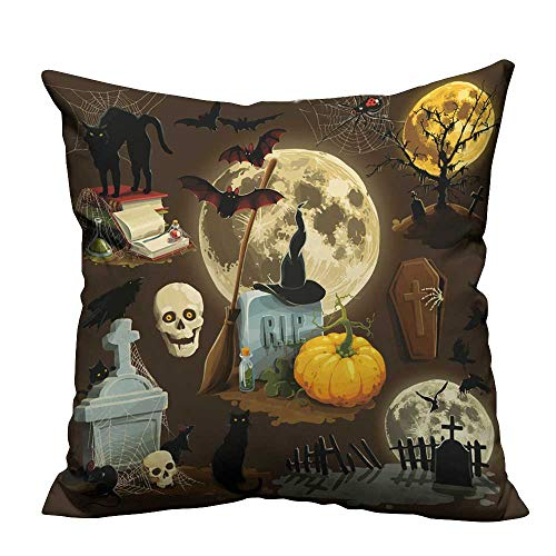(YouXianHome Sofa Waist Cushion Cover Clip Art s for Halloween Celebration Decorative for Kids Adults(Double-Sided Printing) 27.5x27.5)