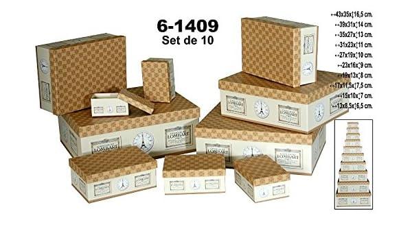 DRW Set 10 Cajas de cartón Decorada en Color Beige/marrón con Dibujos.Surtido en tamaño.: Amazon.es: Hogar