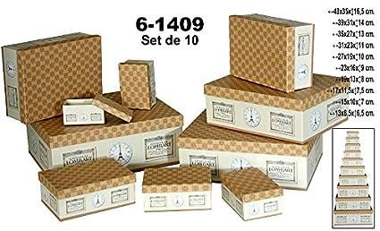 DRW Set 10 Cajas de cartón Decorada en Color Beige/marrón con Dibujos.Surtido