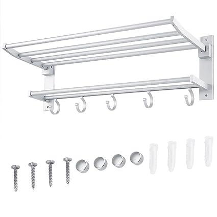 AIYoo Bath Towel Rack 24 Inch Bathroom Shelves with Towel Bar ...
