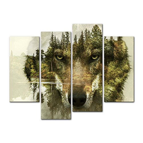 4 Pieces modern Canvas Painting Wall Art The Picture For Home Decoration Wolf Pine Trees Forest Water Wolf Animal Print On Canvas Giclee Artwork For Wall (Wolf Art Wall Decor)