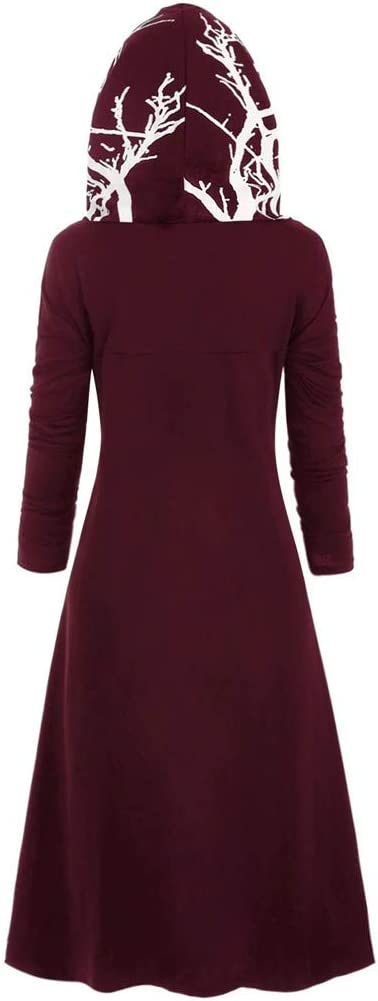 Yezijin Womens Hooded Dress Plus Size Tree Print High Low Halloween Coat Blouse Tops