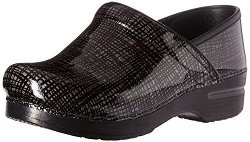 Dansko Women's Wide Pro Patent Leather Clog Silver/Black Crisscross