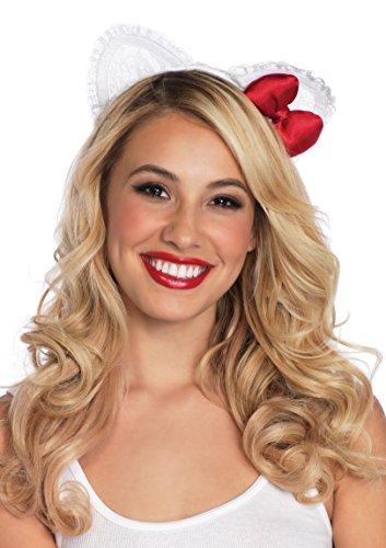 Leg Avenue Lace Hello Kitty Ear Headband With Plush Satin Bow -