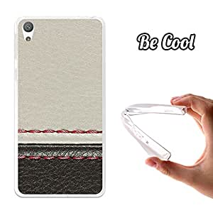 Becool® - Funda Gel Flexible para Alcatel Sony Xperia E5 Carcasa TPU fabricada con la mejor Silicona, protege y se adapta a la perfección a tu Smartphone y con nuestro exclusivo diseño Cuero Blanco y Negro